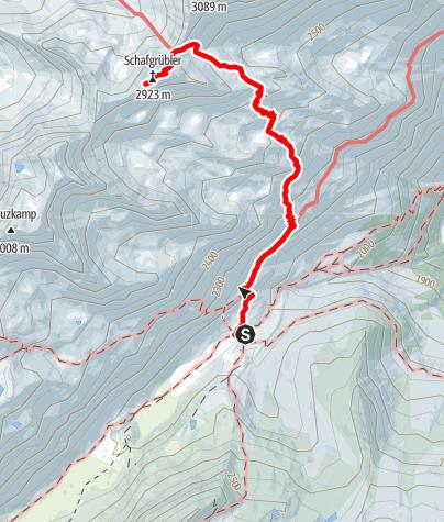 Karte / Franz-Senn-Hütte - Horntaler Joch - Schafgrübler