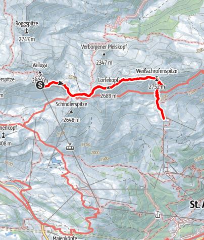 Karte / Über den Arlberger Klettersteig auf die Weißschrofenspitze in den Lechtaler Alpen