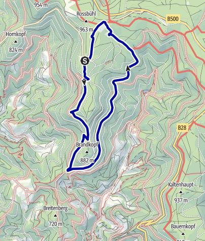 Karte / Von der Zuflucht zum Buchkopfturm und der Renchtalhütte