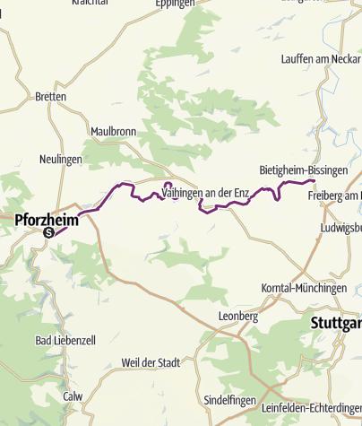 Karte / Schleifenroute DE Pforzheim - Bietigheim-Bissingen Etappe 168