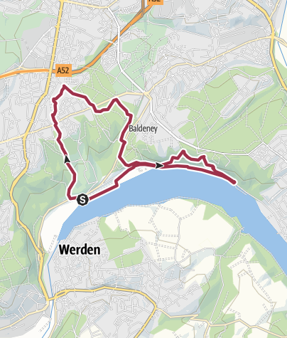 Karte / Zur Villa Hügel und entlang des Baldeneysees