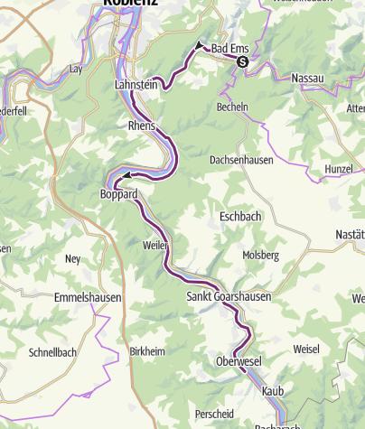 Karte / Schleifenroute DE Bad Ems - Oberwesel Etappe 162