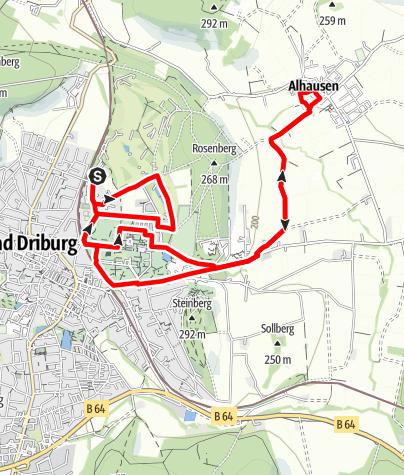 Karte / Nordic Walking auf dem Gesundheits- und Fitness-Parcours Bad Driburg, Tour 5