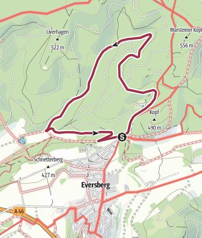 Karte / Rundweg um Eversberg (E1)