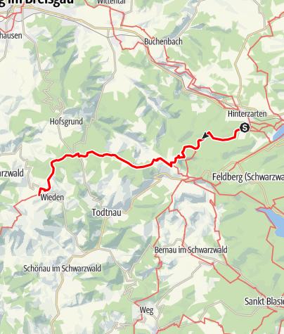 Map / Westweg: stage 10 west (Hinterzarten - Wiedener Eck)