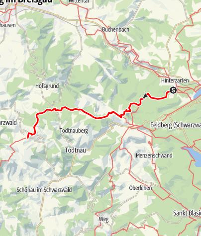 Karte / Westweg-Etappe 10 (West): Hinterzarten - Wiedener Eck