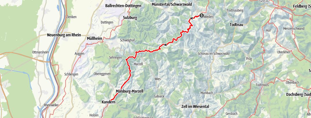Karte / Westweg-Etappe 11 (West): Wiedener Eck - Kandern
