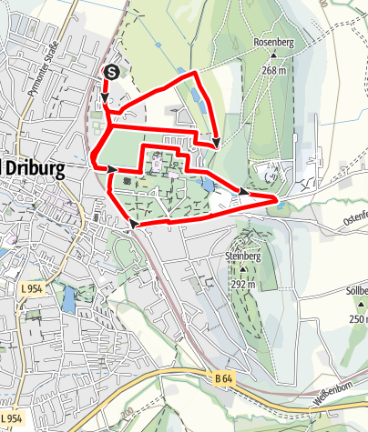Karte / Nordic Walking auf dem Gesundheits- und Fitness-Parcours Bad Driburg, Tour 1
