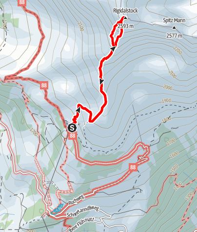 Kaart / Klettersteige auf den Rigidalstock bei Engelberg/Titlis
