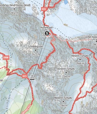 Karte / Der Skywalk-Klettersteig am Hunerkogel (Dachstein)