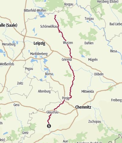 Karte / Muldental-Wanderweg - Ein Flusslauf durch sächsische Geschichten