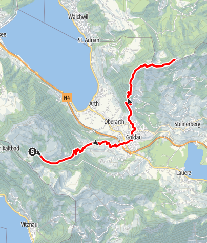 Karte / Etappe: Rigi Klösterli - Goldau - Wildspitz | Schwyzer Tal- & Gipfeltour
