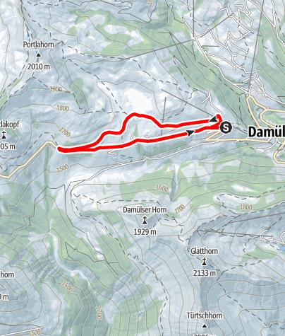 Karte / Damüls | Laufstrecke Alpe Oberdamüls