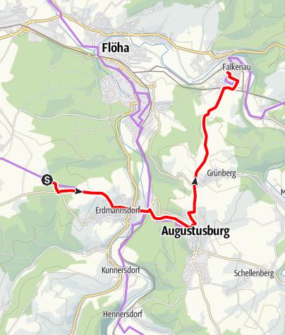 Karte / Sächsische Städteroute, Teilabschnitt Chemnitz-Augustusburg-Oederan