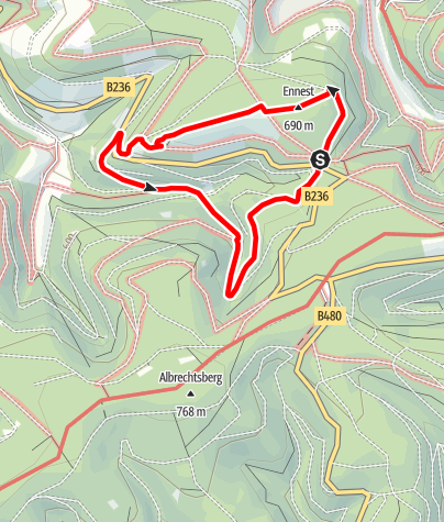 Karte / Rundweg vom Wanderparkplatz Ennest (A1)