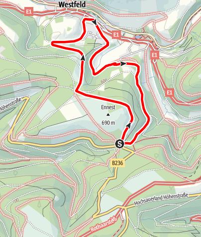 Karte / Rundweg vom Wanderparkplatz Ennest (A2)