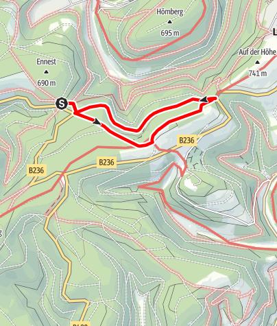 Karte / Rundweg vom Wanderparkplatz Ennest (A3)