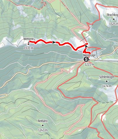 Karte / Wanderung auf die Wetterinalm