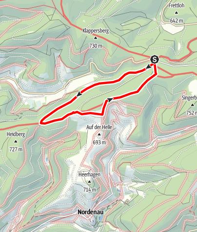 Karte / Rundweg vom Wanderparkplatz Großes Bildchen, Rehsiepen (A7)
