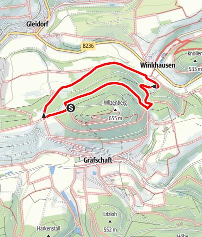 Karte / Rundweg vom Wanderparkplatz Wilzenberg (A2)