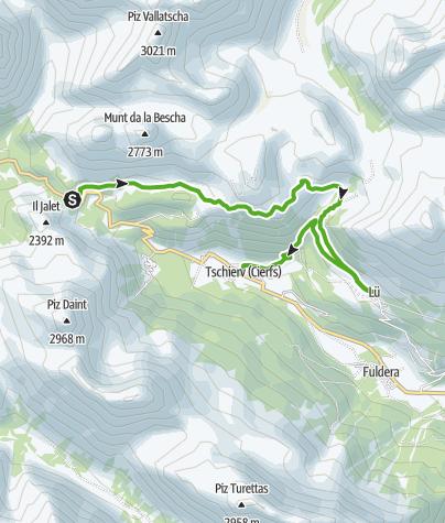 Kaart / Süsom Givè – Alp Champatsch – Lü - Tschierv