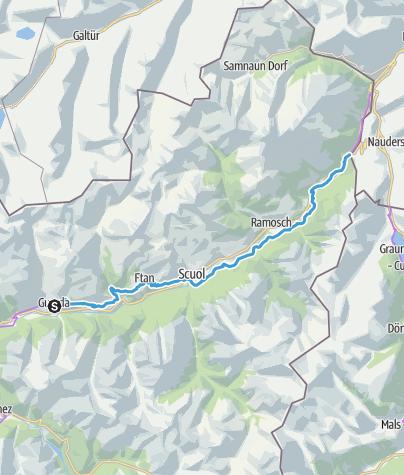 Karte / 65: Innradweg, Teiletappe Guarda–Martina