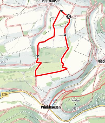 Karte / Rundweg vom Wanderparkplatz Lüttmecke, Holthausen (A4)
