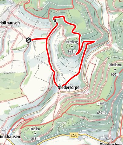 Karte / Rundweg vom Wanderparkplatz Lüttmecke, Holthausen (A5)