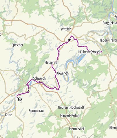 Karte / Mit dem E-Bike durchs Moselland: Etappe 1 (Trier bis Bernkastel-Kues)