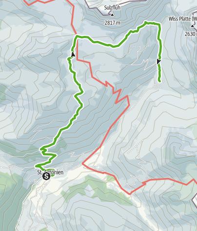 Karte / St. Antönier Seenwanderung (Carschinasee / Partnunsee)