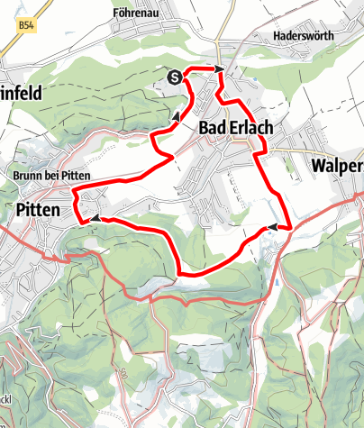Mapa / Kulturwanderweg Bad Erlach (kurze Route) (BE 2)