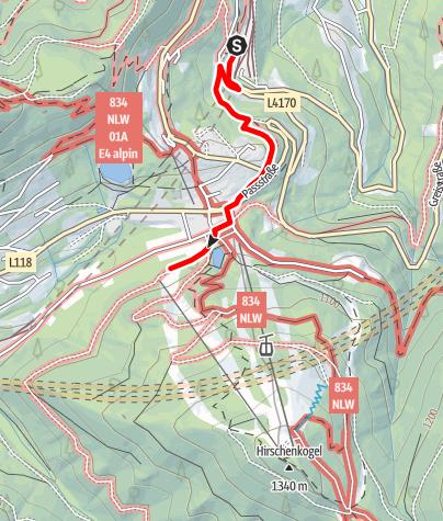Karte / Wanderung zur Enzianhütte am Semmering (vom Bahnhof Semmering)