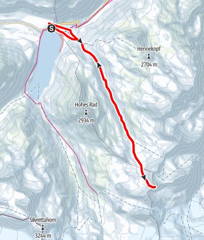 Map / Skitour Rauhkopfsattel auf der Silvretta-Bielerhöhe