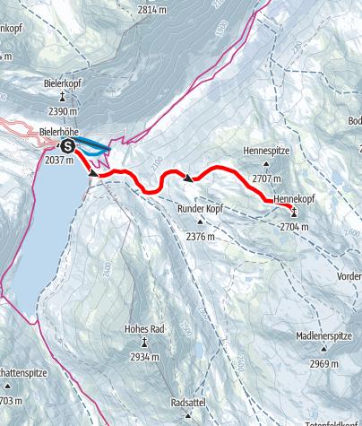 Map / Skitour zum Hennekopf