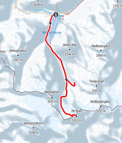 Karte / Skitour zum höchsten Gipfel südlich im Montafon, dem Piz Buin 3.312 m (eintägig)