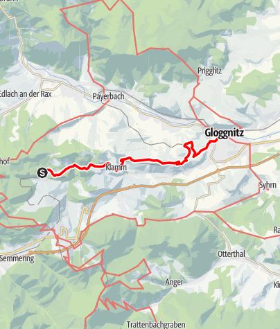 Mapa / Bahnwanderweg: Breitenstein-Gloggnitz