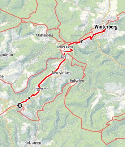 Karte / Winterberger Hochtour (Etappe 10) von Hoheleye zum Kahler Asten