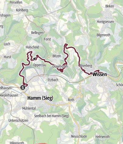 Kaart / Natursteig Sieg 09. Etappe Au - Wissen