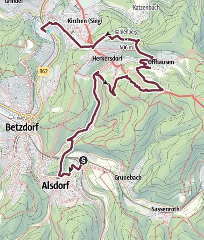 Karte / Natursteig Sieg 13. Etappe Alsdorf-Kirchen (Sieg)