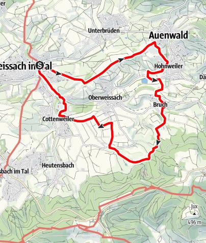 Karte / Idyllische Straße Tour Q / Weissach im Tal - Idyllisch durch die Streuobstwiesen