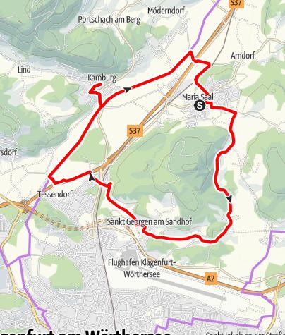 Karte / Familienfreundlicher Radwander-Rundweg um den Maria Saaler Berg