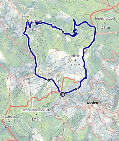 Karte / Vom Wiedner Eck übers Hörnle zum Scharfenstein