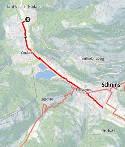 Karte / Barrierefrei - gemütlicher Spaziergang von St. Anton im Montafon nach Tschagguns