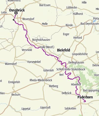 Karte / BahnRadRoute Teuto-Senne