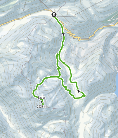 Karte / Gipfelerlebnis T4 - Piz Badus (Six Madun)