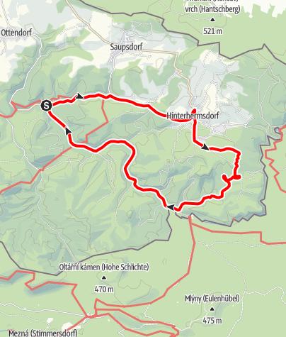 """Karte / Handbiketour """"Zur Niederen Schleuse im Kirnirtzschtal"""" (barrierefrei)"""
