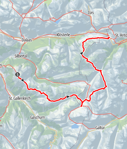 Karte / Verwalltour - vom Montafon zum Arlberg