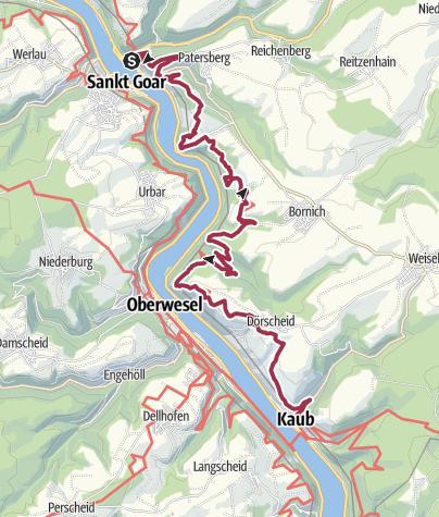 Map / Rheinsteig Etappe 17: Von St. Goarshausen nach Kaub