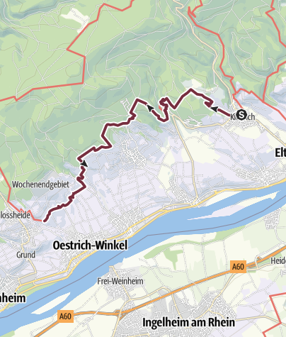 Karte / Rheinsteig 03. Etappe Kiedrich - Johannisberg (Süd-Nord)
