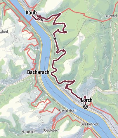 Karte / Rheinsteig 06. Etappe Lorch - Kaub (Süd-Nord)